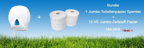 Bundle Jumbo-Toilettepapier J2028-Z + Toilettenpapierspender IN-T01/WS