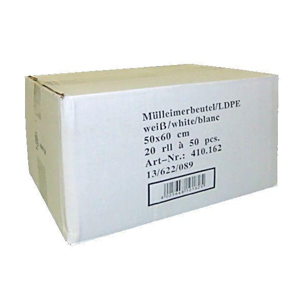 Müllbeutel 30 Liter 50 x 60cm weiß Extra Stark 14µ Karton mit 1000 Stück