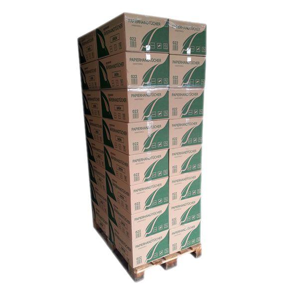 1 Palette Falthandtücher 1-lagig 25cm x 23cm grün 5000 Blatt